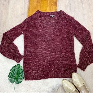 VINCE. Plum and Silver Knit V-neck Sweater Comfy